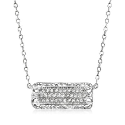 .10 ct. t.w. Diamond Openwork Bar Necklace in 14kt White Gold