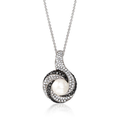 C. 1990 Vintage Cultured Pearl and .90 ct. t.w. Black and White Diamond Pendant Necklace in 14kt White Gold