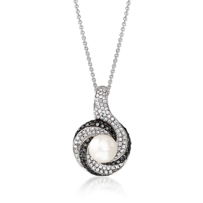 """C. 1990 Vintage Cultured Pearl and .90 ct. t.w. Black and White Diamond Pendant Necklace in 14kt White Gold. 16"""""""