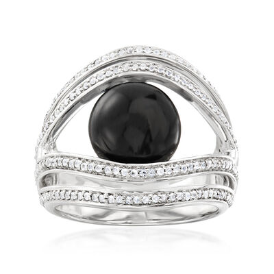 Black Onyx and .50 ct. t.w. White Topaz Ring in Sterling Silver