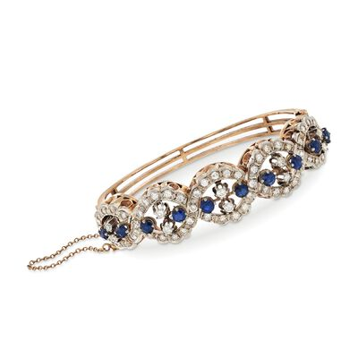 C. 1970 Vintage 3.00 ct. t.w. Sapphire and 2.25 ct. t.w. Diamond Bracelet in 14kt Rose Gold, , default