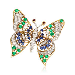 C. 1980 Vintage 1.00 ct. t.w. Diamond and 1.69 ct. t.w. Multi-Stone Butterfly Pin in 18kt Yellow Gold, , default