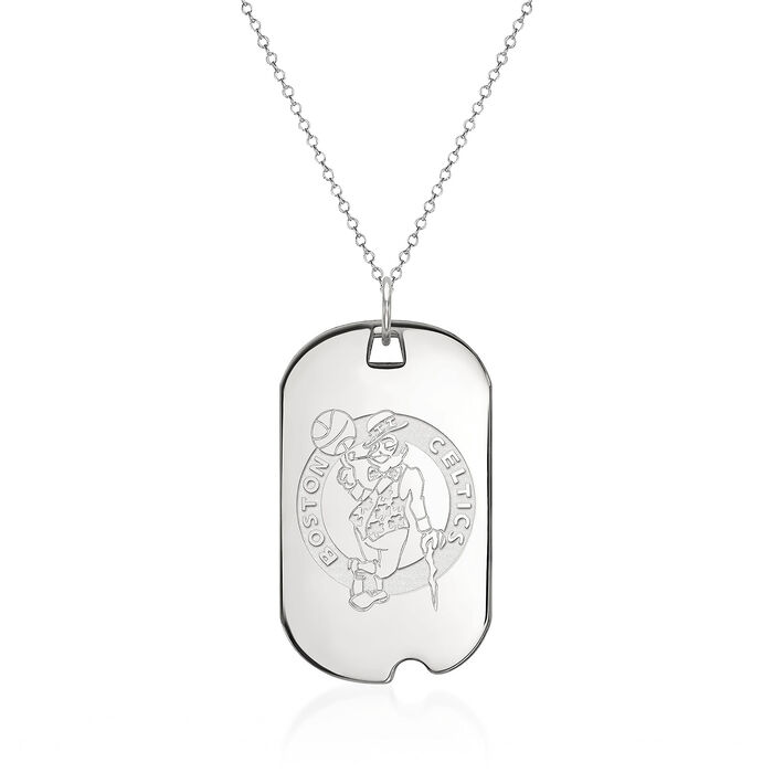 "Sterling Silver NBA Boston Celtics Dog Tag Necklace. 18"", , default"