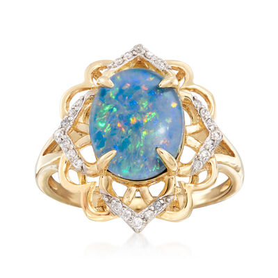 11x9mm Blue Opal and .10 ct. t.w. Diamond Ring in 14kt Yellow Gold, , default