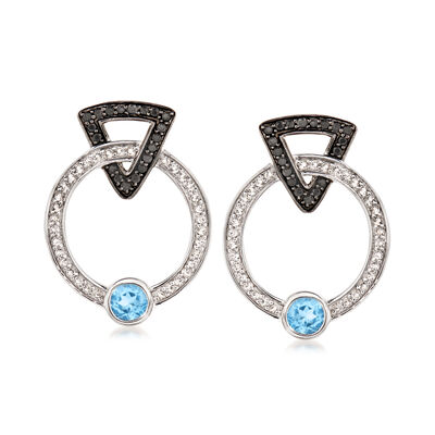 .60 ct. t.w. Sky Blue and White Topaz and .20 ct. t.w. Black Spinel Drop Earrings in Sterling Silver