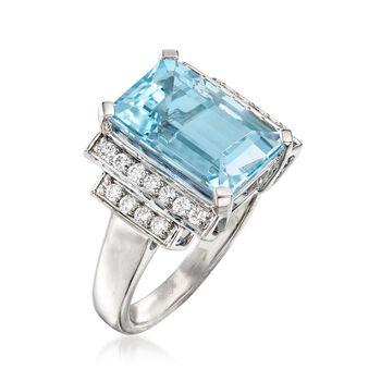 5.50 Carat Aquamarine and .30 ct. t.w. Diamond Ring in 14kt White Gold