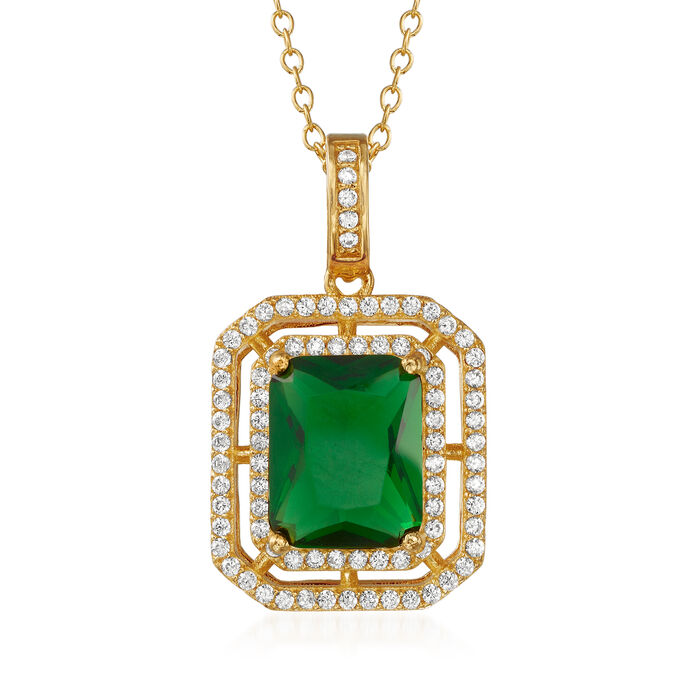 """4.00 Carat Simulated Emerald and .40 ct. t.w. CZ Pendant Necklace in 18kt Gold Over Sterling. 18"""", , default"""