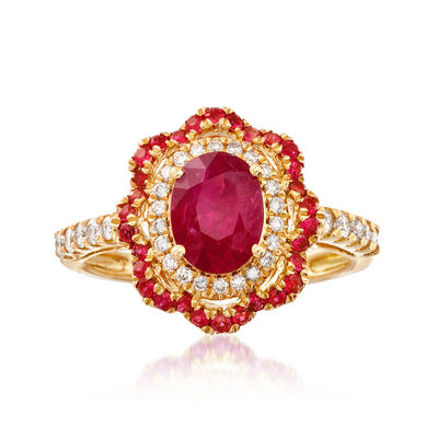 1.50 ct. t.w. Ruby and .30 ct. t.w. Diamond Floral Ring in 18kt Yellow Gold