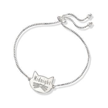 Sterling Silver Personalized Cat Bolo Bracelet, , default