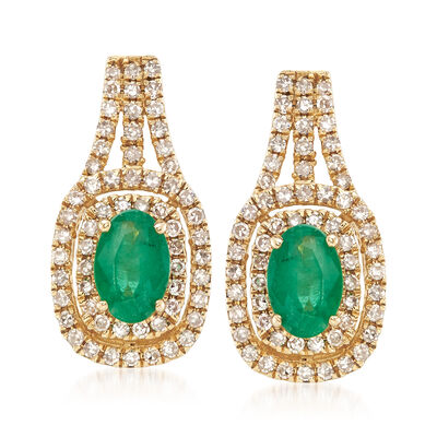.80 ct. t.w. Emerald and .45 ct. t.w. Diamond Double Frame Earrings in 14kt Yellow Gold, , default