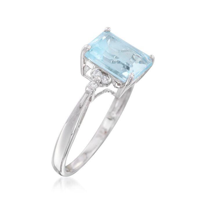 2.05 Carat Aquamarine Ring with Diamond Accents in 14kt White Gold