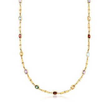 """C. 1980 Vintage 12.05 ct. t.w. Multi-Stone Station Necklace in 14kt Yellow Gold. 17.5"""", , default"""