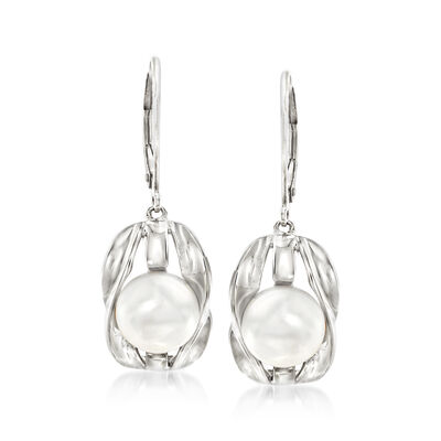 9-9.5mm Cultured Pearl Drop Earrings in Sterling Silver