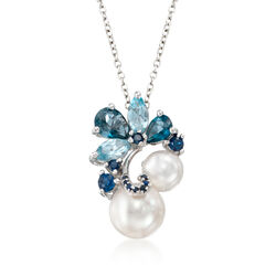 "7-9.5mm Cultured Pearl and 1.80 ct. t.w. Blue Topaz Pendant Necklace With .10 ct. t.w. Sapphires in Sterling Silver. 17"", , default"