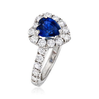 1.90 Carat Sapphire and 1.25 ct. t.w. Diamond Halo Heart Ring in 18kt White Gold. Size 6.5