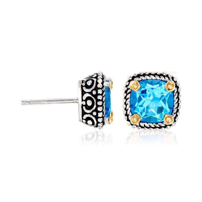 4.90 ct. t.w. Blue Topaz Stud Earrings in Sterling Silver and 14kt Yellow Gold