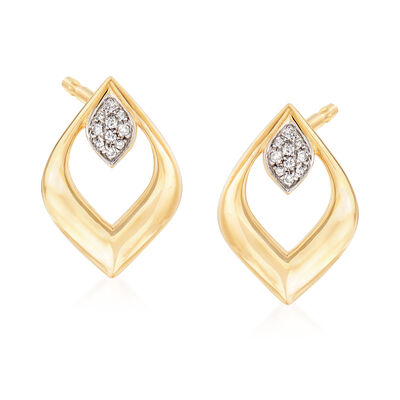 14kt Yellow Gold Open-Space Diamond-Shaped Earrings with Diamond Accents