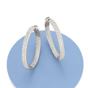 """3.00 ct. t.w. Pave CZ Inside-Outside Hoop Earrings in Sterling Silver. 1 3/8"""", , default"""