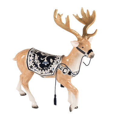 "Fitz and Floyd ""Bristol Holiday"" Reindeer Figurine, , default"