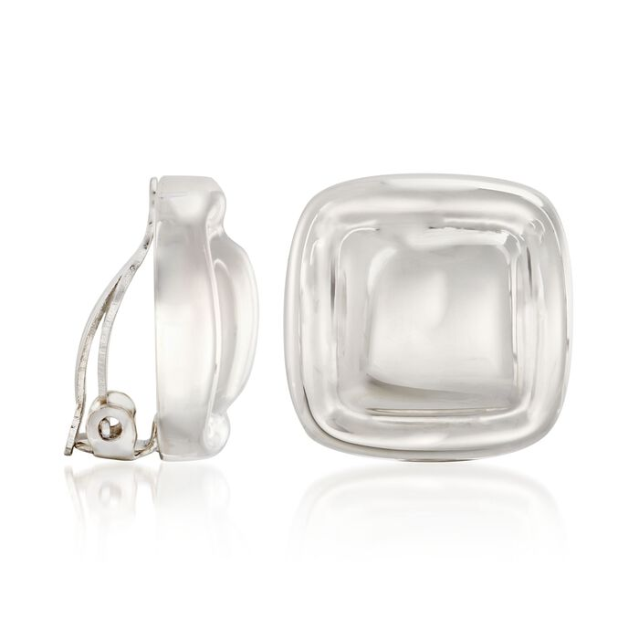 "Zina Sterling Silver ""Contemporary"" Classic Square Button Clip-On Earrings"