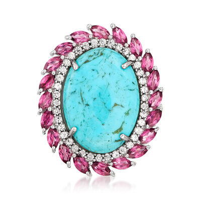 Turquoise, 2.40 ct. t.w. Rhodolite Garnet and .50 ct. t.w. White Zircon Ring in Sterling Silver