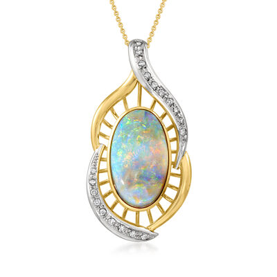C. 1980 Vintage Opal and .38 ct. t.w. Diamond Pendant Necklace in Platinum and 18kt Yellow Gold
