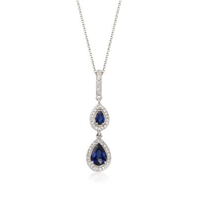 1.10 ct. t.w. Sapphire and .20 ct. t.w. Diamond Double Drop Pendant Necklace in 14kt White Gold, , default