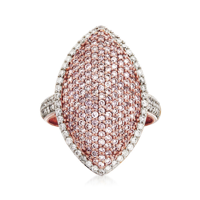 1.61 ct. t.w. Pink and White Diamond Ring in 18kt Rose Gold