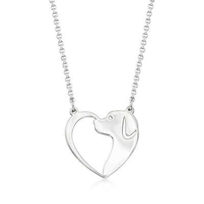 Sterling Silver Dog and Heart Necklace  , , default