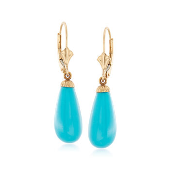 C. 1990 Vintage Synthetic Turquoise Teardrop Earrings in 14kt Yellow Gold, , default