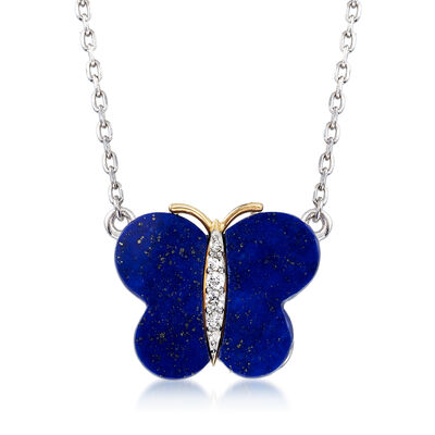 Lapis Butterfly Necklace with Diamond Accents in Sterling Silver and 14kt Yellow Gold, , default