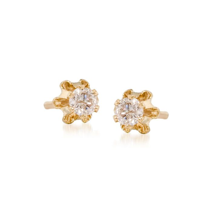 Child's .14 ct. t.w. Diamond Stud Earrings in 14kt Yellow Gold, , default