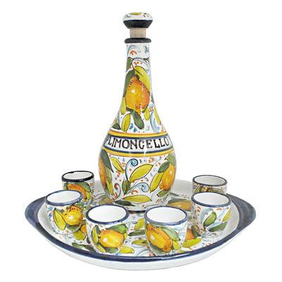 Abbiamo Tutto Italian Limoncello Ceramic Set: Bottle, Serving Tray and 6 Glasses, , default