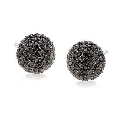 1.00 ct. t.w. Black Diamond Stud Earrings in Sterling Silver , , default