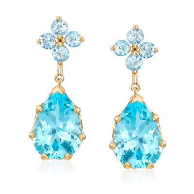9.70 ct. t.w. Sky Blue Topaz Drop Earrings in 14kt Yellow Gold