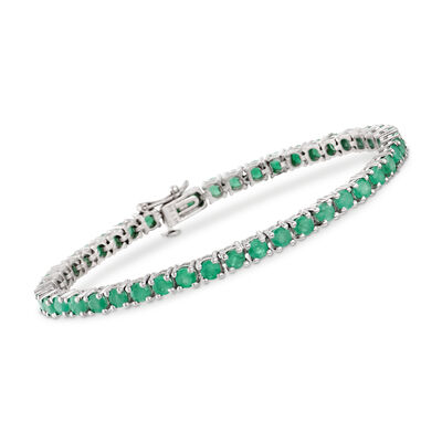6.60 ct. t.w. Emerald Tennis Bracelet in Sterling Silver, , default