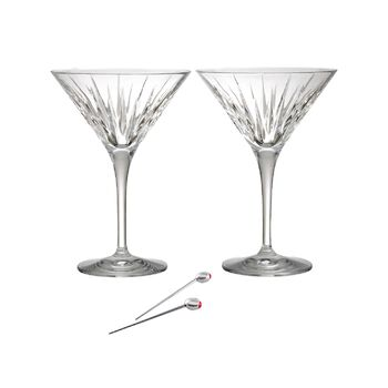 """Reed & Barton """"Soho"""" Set of Two Martini Glasses With Olive Picks, , default"""