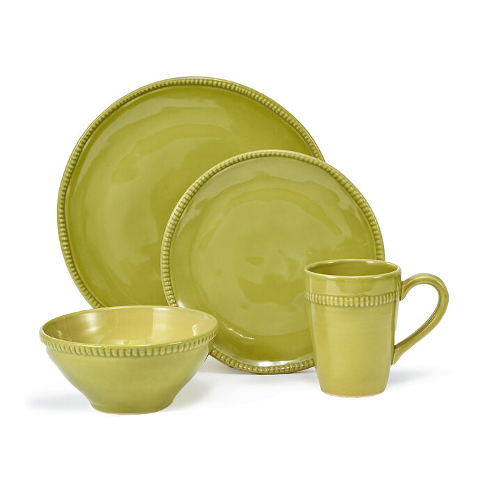"Euro Ceramica ""Algarve"" Green 16-pc. Service for 4 Dinnerware Set, , default"