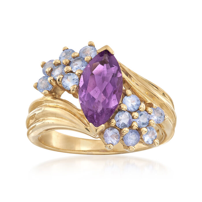 C. 1980 Vintage 1.60 Carat Amethyst and 1.00 ct. t.w. Tanzanite Ring in 10kt Yellow Gold. Size 7