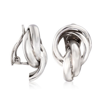 Sterling Silver Knot Clip-On Earrings, , default