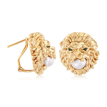 7-7.5mm Cultured Pearl Lion Head Earrings with Emerald Accents in 14kt Yellow Gold