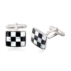Rectangular Black and White Mother-Of-Pearl Checkerboard Cuff Links in Sterling Silver, , default
