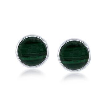 Bezel-Set Malachite Earrings in Sterling Silver , , default