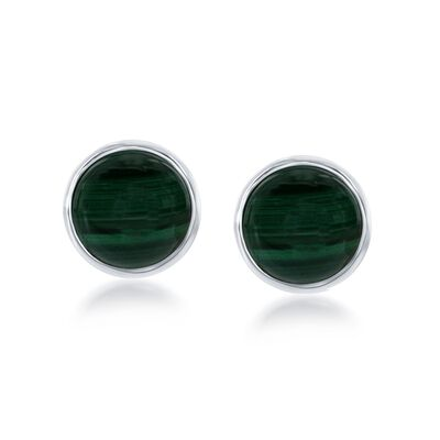 Bezel-Set Malachite Earrings in Sterling Silver, , default