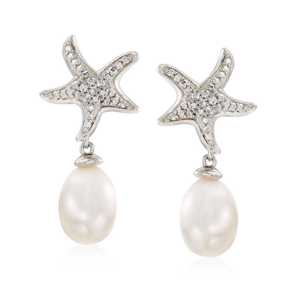 8f00e4ed76 6-7mm Cultured Pearl and White Topaz-Accented Starfish Drop Earrings in Sterling  Silver