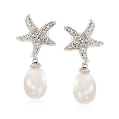 6-7mm Cultured Pearl and White Topaz-Accented Starfish Drop Earrings in Sterling Silver, , default