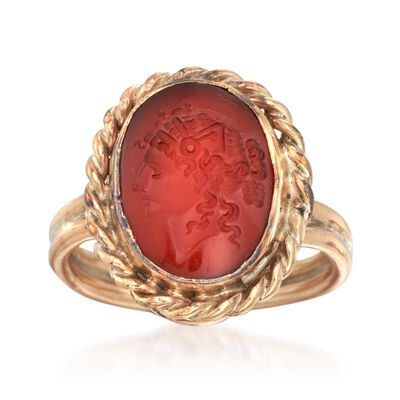 C. 1950 Vintage Red Carnelian Intaglio Ring in 14kt Yellow Gold, , default