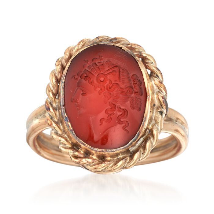 C. 1950 Vintage Red Carnelian Intaglio Ring in 14kt Yellow Gold. Size 6, , default