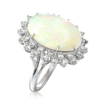 C. 1990 Vintage Opal and 1.90 ct. t.w. Diamond Ring in 14kt White Gold. Size 5.5, , default