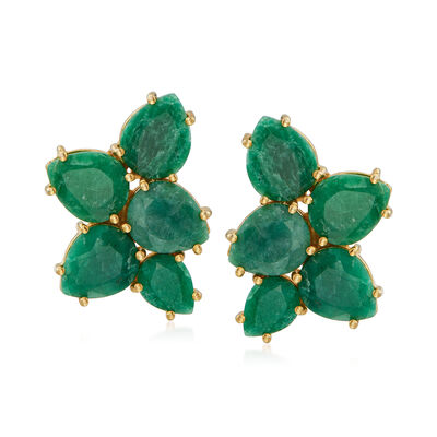 17.30 ct. t.w. Emerald Cluster Earrings in 14kt Gold Over Sterling